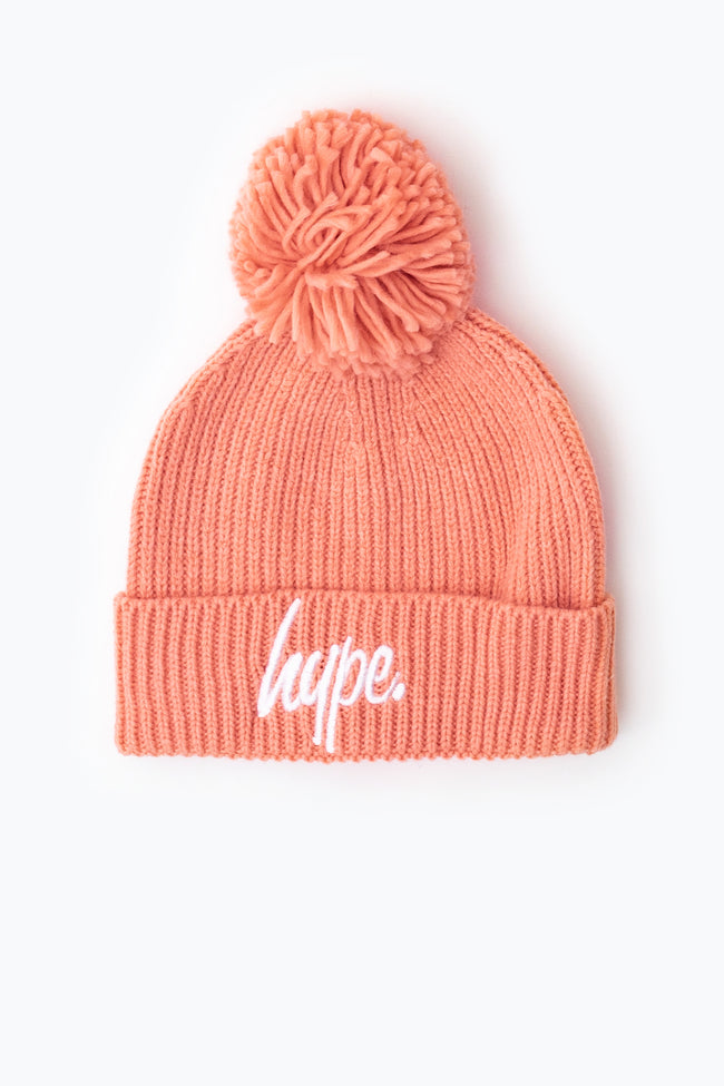 HYPE PINK KNIT RIBBED BOBBLE BEANIE