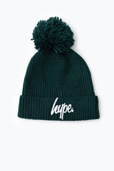 HYPE GREEN KNIT RIBBED BOBBLE BEANIE