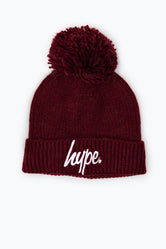 HYPE BURGUNDY KNIT RIBBED BOBBLE BEANIE