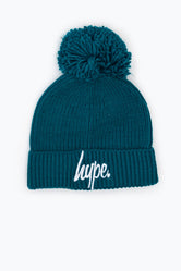 HYPE OCEAN GREEN KNIT RIBBED BOBBLE BEANIE
