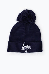 HYPE NAVY KNIT RIBBED BOBBLE BEANIE