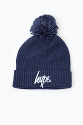 HYPE STEEL BLUE KNIT RIBBED BOBBLE BEANIE