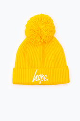 HYPE YELLOW KNIT RIBBED BOBBLE BEANIE