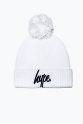 HYPE WHITE KNIT RIBBED BOBBLE BEANIE