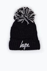HYPE BLACK KNIT SHIMMER BOBBLE BEANIE
