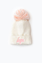 HYPE OFF WHITE KNIT SHIMMER BOBBLE BEANIE