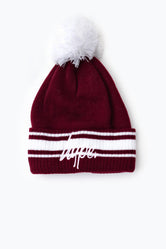 HYPE BURGUNDY STADIUM BOBBLE BEANIE