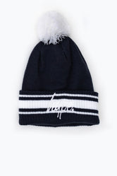 HYPE NAVY WHITE STADIUM BOBBLE BEANIE