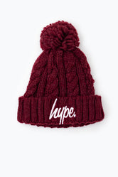 HYPE BURGUNDY CABLE KNIT KIDS BEANIE