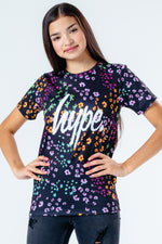 HYPE BLACK FLORAL DITSY KIDS T-SHIRT