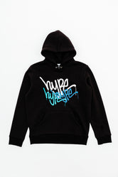 HYPE BLACK GRAFFITI REPEAT LOGO KIDS PULLOVER HOODIE