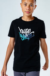 HYPE BLACK GRAFFITI REPEAT LOGO KIDS T-SHIRT