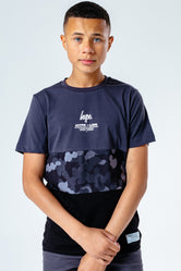 HYPE GREY ABSTRACT PANEL KIDS T-SHIRT