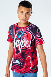 HYPE RED MARBLE SWIRL KIDS T-SHIRT