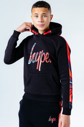 HYPE RED MARBLE PANEL KIDS PULLOVER HOODIE