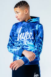 HYPE BLUE PAINT SPLASH KIDS PULLOVER HOODIE