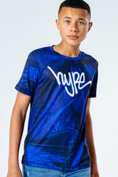 HYPE BLUE STROBE GRAFFITI LOGO KIDS T-SHIRT