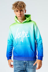 HYPE GREEN & BLUE SCRIPT FADE KIDS PULLOVER HOODIE