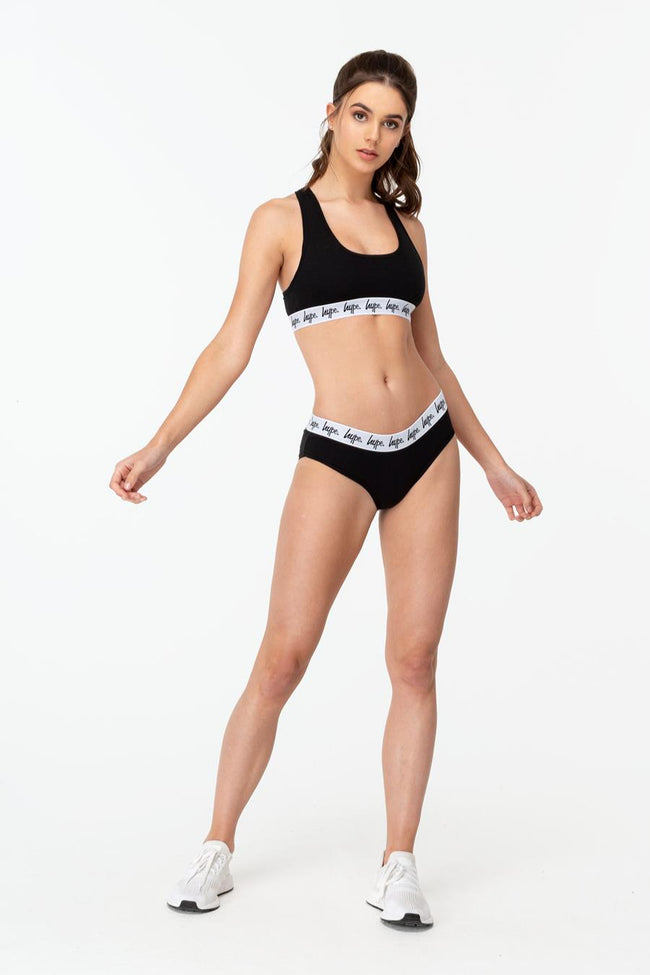 HYPE BLACK SCRIPT WOMEN'S BRIEFS 2x PACK