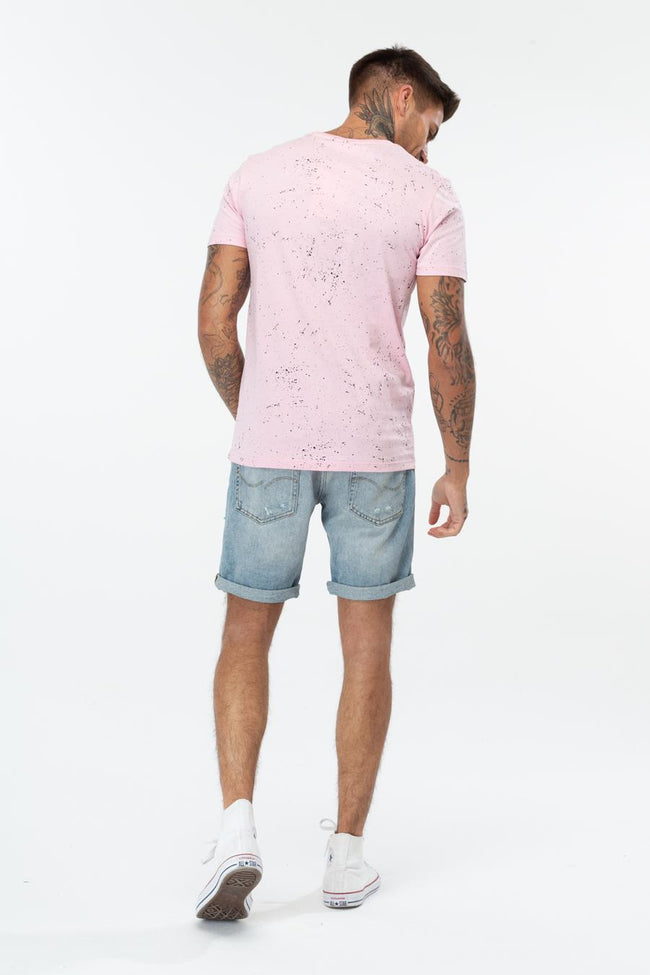HYPE PINK NAVY SCRIPT SPECKLE MENS T-SHIRT