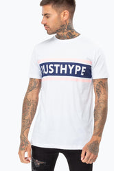 HYPE PINK NAVY STRIPE LOGO MENS T-SHIRT