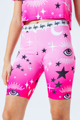 HYPE PINK MYSTIC AOP KIDS CYCLE SHORTS