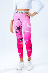 HYPE PINK MYSTIC AOP KIDS LEGGINGS