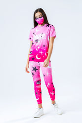 HYPE PINK MYSTIC AOP KIDS T-SHIRT LEGGINGS & FACE MASK SET