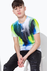 HYPE LIME CHEVRON DRIPS KIDS T-SHIRT