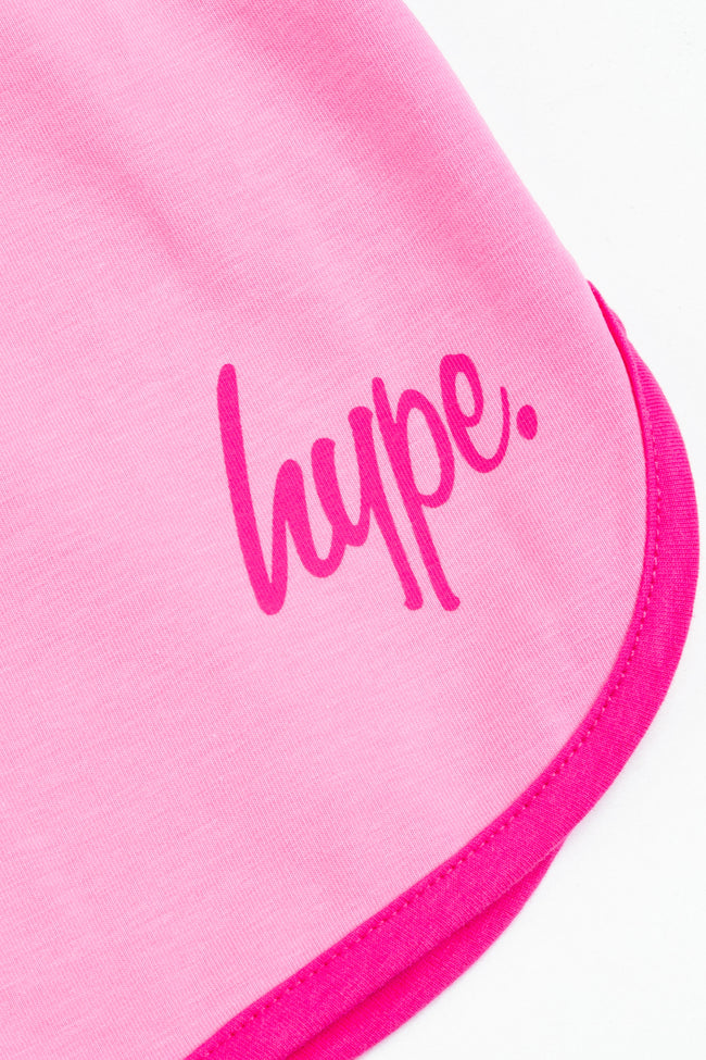 HYPE PINK SCRIPT KIDS RUNNER SHORTS