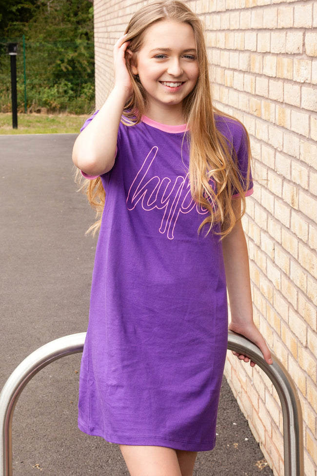 HYPE PURPLE RINGER KIDS T-SHIRT DRESS