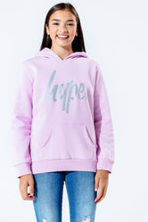 HYPE LILAC GLITTER SCRIPT KIDS PULLOVER HOODIE