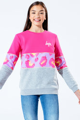 HYPE PINK LEOPARD PANEL KIDS CREWNECK