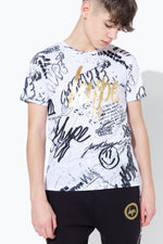 HYPE WHITE GOLD FOIL GRAFFITI PRINT KIDS T-SHIRT