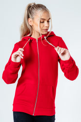 HYPE RED DRAWSTRING WOMEN'S ZIP HOODIE