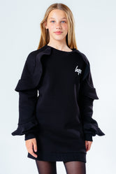 HYPE BLACK FRILL DETAIL KIDS SWEAT DRESS