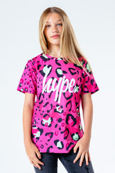 HYPE PINK & GREEN LEOPARD KIDS T-SHIRT