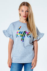 HYPE GREY FOIL SCRIPT FRILL KIDS T-SHIRT