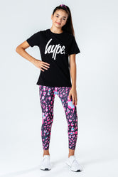 HYPE BLACK T-SHIRT WITH LEOPARD LEGGINGS & SCRUNCHIE KIDS SET