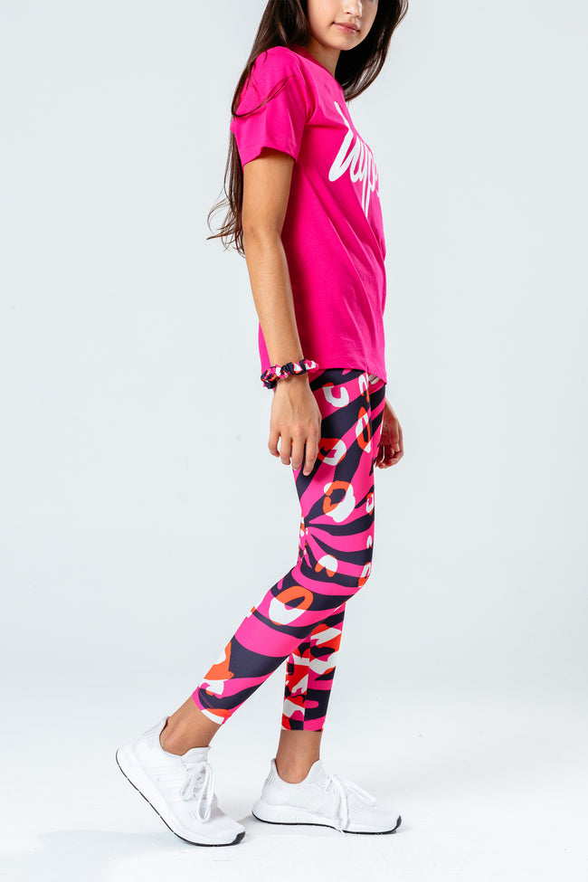 HYPE PINK T-SHIRT WITH ZEBRA LEGGINGS & SCRUNCHIE KIDS SET