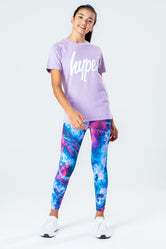 HYPE LILAC T-SHIRT WITH COSMIC LEGGINGS & SCRUNCHIE KIDS SET