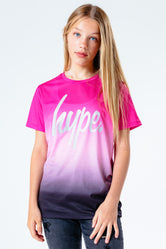 HYPE PINK FADE WITH SILVER SCRIPT KIDS T-SHIRT
