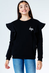 HYPE BLACK FRILL DETAIL KIDS CREWNECK