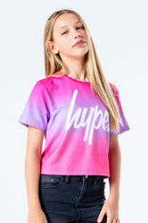 HYPE ROSY PINK FADE KIDS CROP T-SHIRT