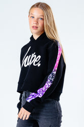 HYPE PINK & PURPLE ANIMAL PANEL KIDS CROP PULLOVER HOODIE