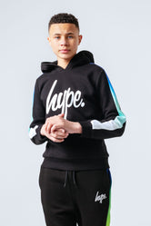 HYPE BLUE GREEN FADE SLEEVE PANEL KIDS PULLOVER HOODIE