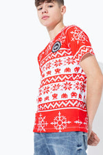 HYPE RED FAIRISLE KIDS T-SHIRT