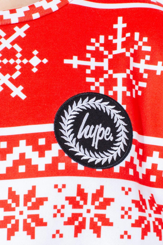 HYPE RED FAIRISLE KIDS CREW NECK