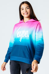 HYPE PINK & BLUE FADE KIDS PULLOVER HOODIE