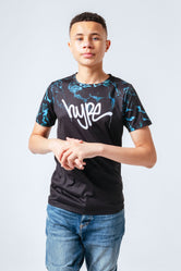 HYPE BLACK BLUE MARBLE FADE KIDS T-SHIRT
